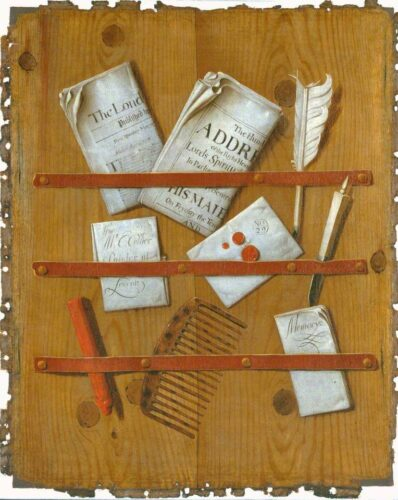 This painting by Edward Collier (1662–1708) shows some of the print and manuscript media in use in late seventeenth-century Europe.