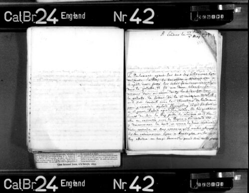 Photograph of a microfiché scan of a report by Guillaume Beyrie, who tells his readers in Hanover about a day of high ceremonial drama in London on 5 May 1694.